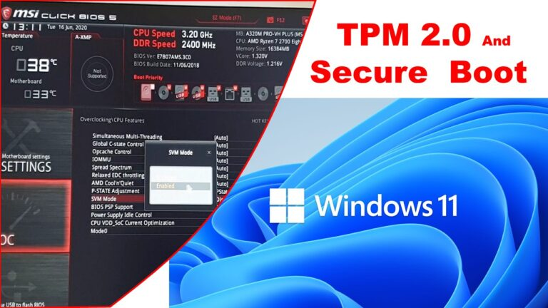 Windows 11 How to Enable TPM 2 0 and Secure Boot in BIOS AMD RYZEN MSI